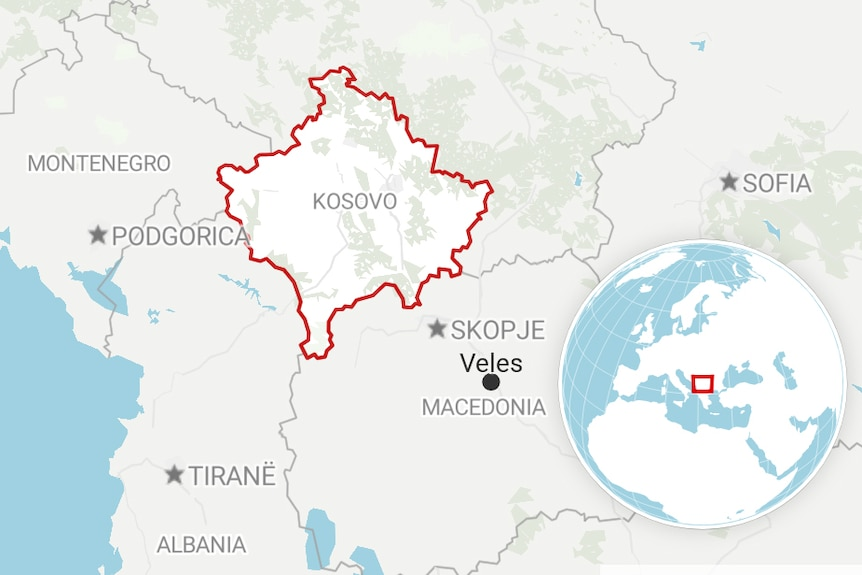 A map of the Balkans showing Kosovo and the town of Veles in Macedonia.