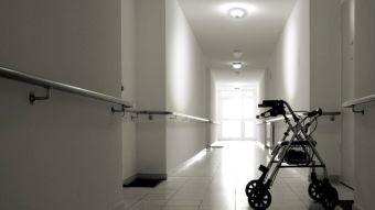 Zimmer frame in the walkway of an aged care facility.