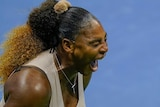 Serena Williams shouts in frustration during the US Open semi-final against Victoria Azarenka.