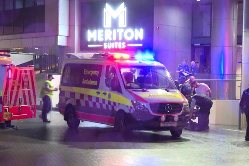 An ambulance outside a building