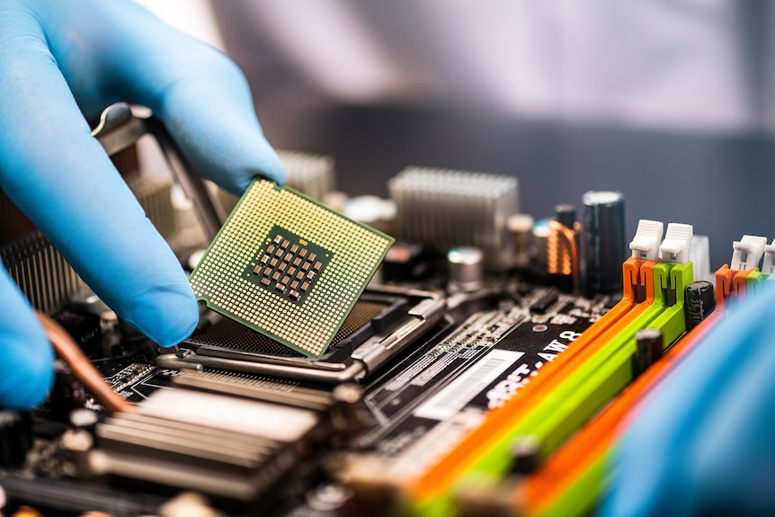 Stock photo of a computer chip
