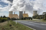 A coal-fired power station in situated among grass and trees