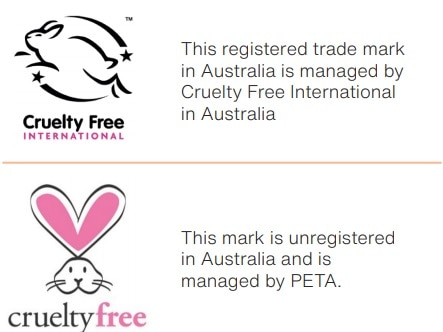 Logos featuring cartoon rabbits showing products that have not been tested on animals
