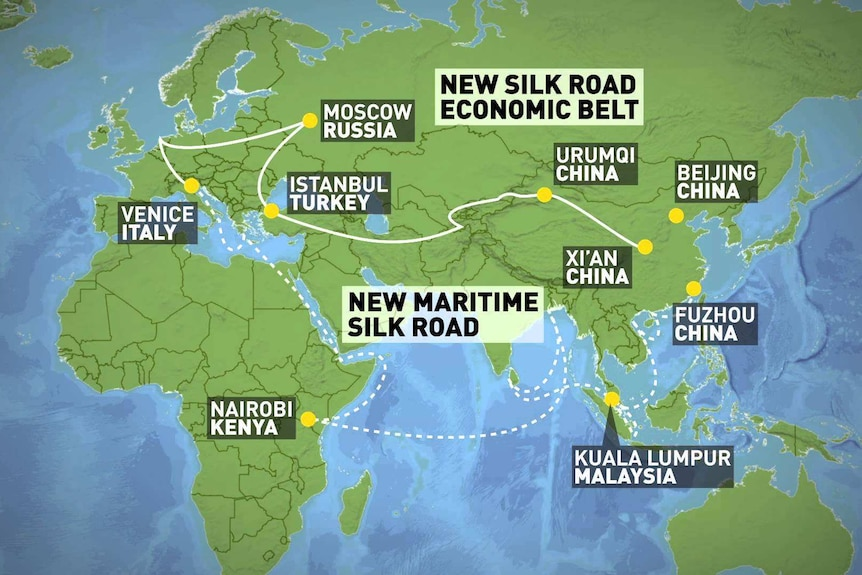 A diagram of China's plan for the 'New Silk Road'