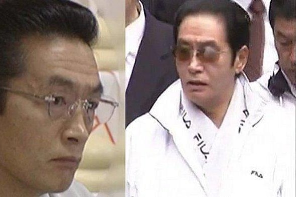 A composite of two images of a Japanese man wearing glasses