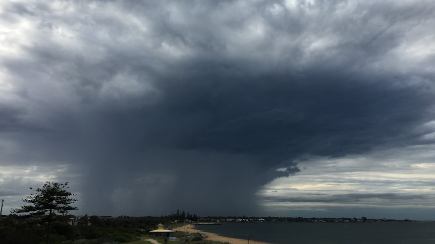 A wide angle image showing dark storm clouds and a rain band with a beach in the foreground.