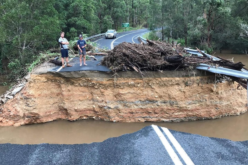 Springbrook's Pine Creek Road was severely damaged in the flooding caused by ex-Cyclone Debbie.
