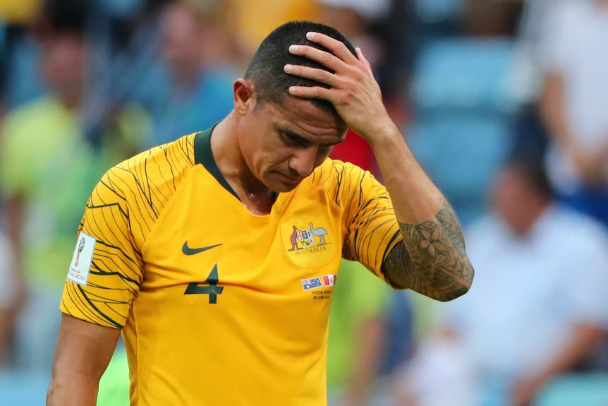 Tim Cahill dejected after Socceroos lose to Peru