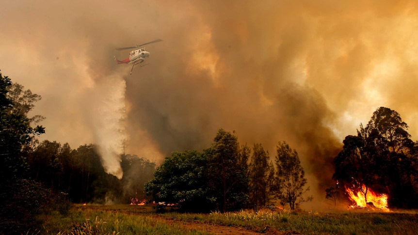 An aerial image of smoke pouring from a fire in the bush.