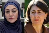 Composite image of Arwa Abousamra and Gladys Berejiklian