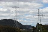 Power lines, transmission towers Tasmania 2008