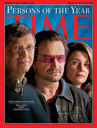 Bill Gates, Bono and Melinda Gates