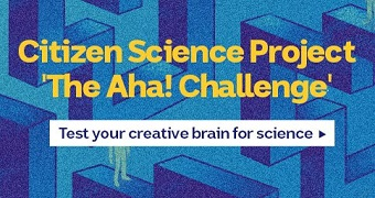 Promo image for the Aha! Challenge - test your creative brain for science