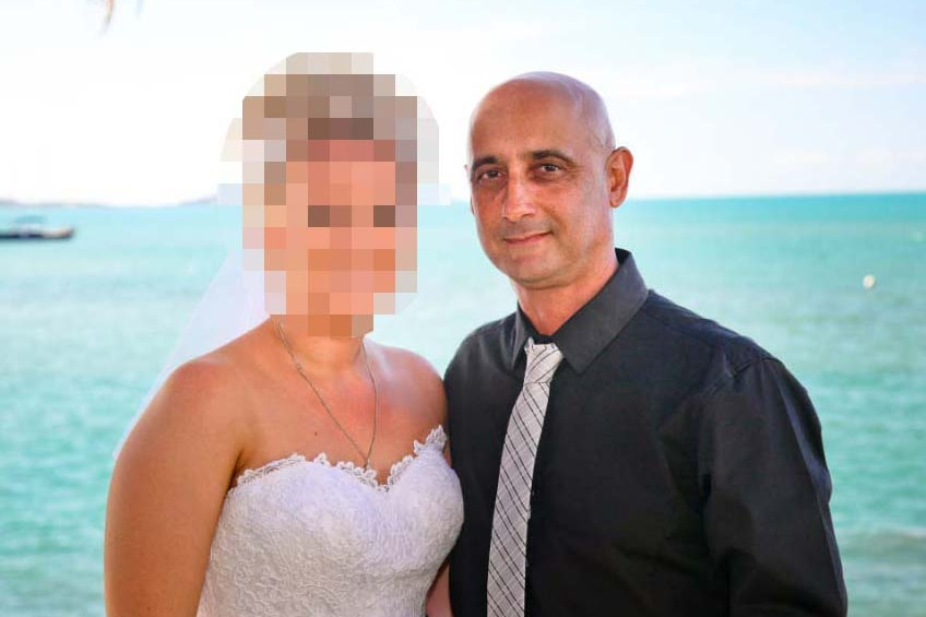 Frank Vella in a wedding photo with an unidentified woman, date unknown, with ocean in background.