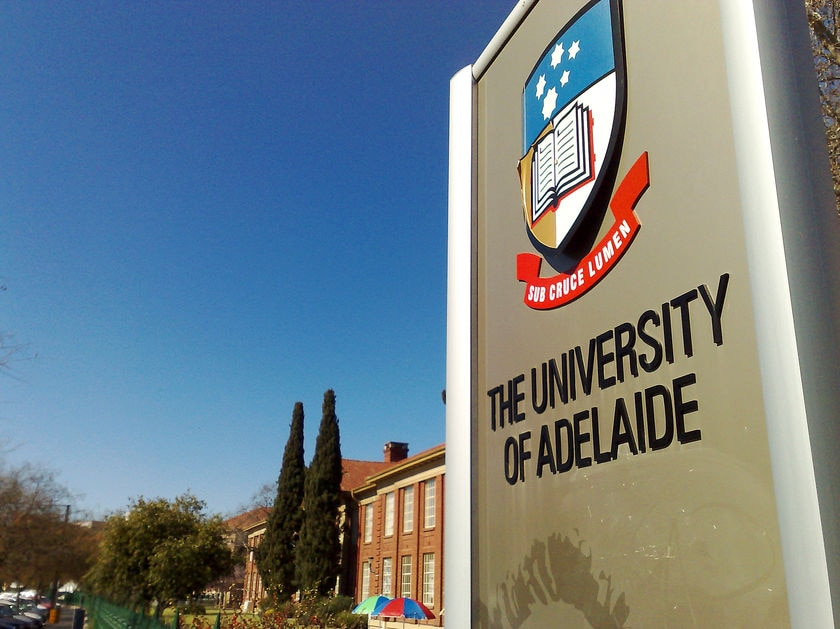 A sign at the Adelaide University campus.