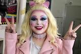 Drag performer Kat Daddi in costume