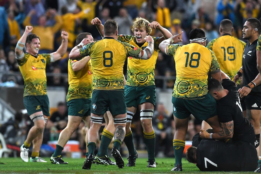 Wallabies players celebrate their win over the All Blacks at Lang Park