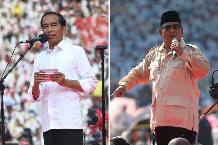Left, Jokowi holds cards as he speaks into a microphone. Right, Prabowo wears a black hat, sunglasses, and points as he speaks.