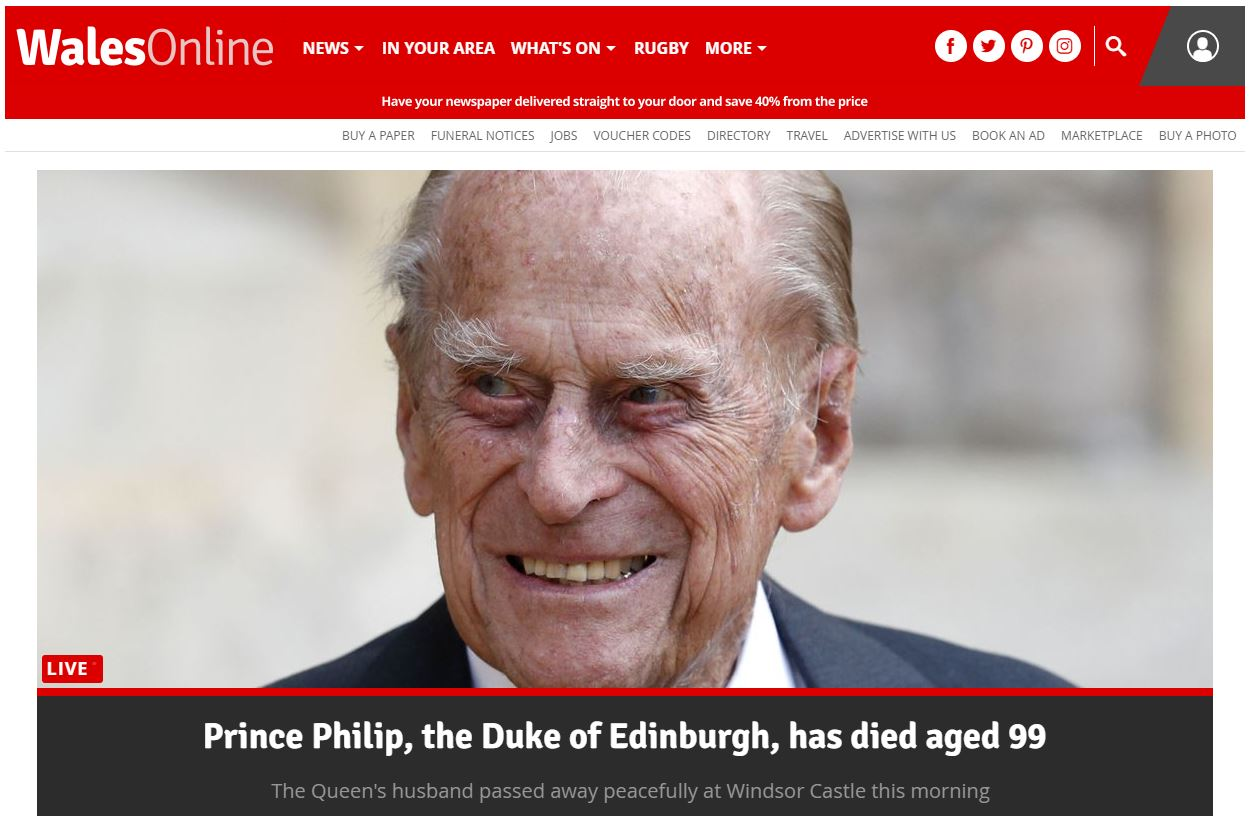 WalesOnline after the death of Prince Philip.