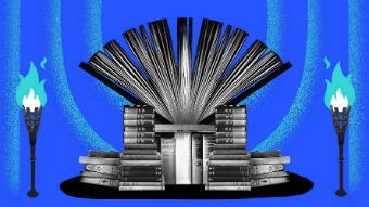 A throne made out of books surrounded by two fire torches with a blue background.