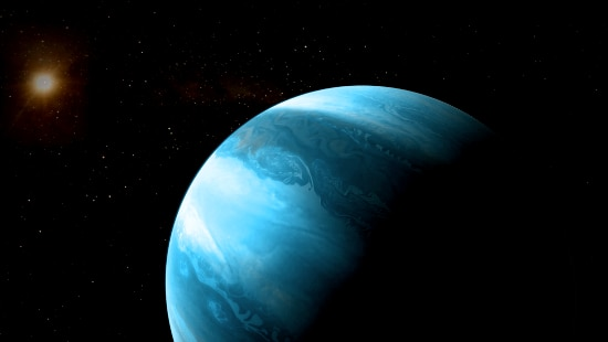 A large blue planet in the foreground and a small gold star in the top left corner.