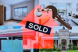 Four photos of properties are placed in a grid, with a red silhouette of a house saying 'SOLD' and a key.