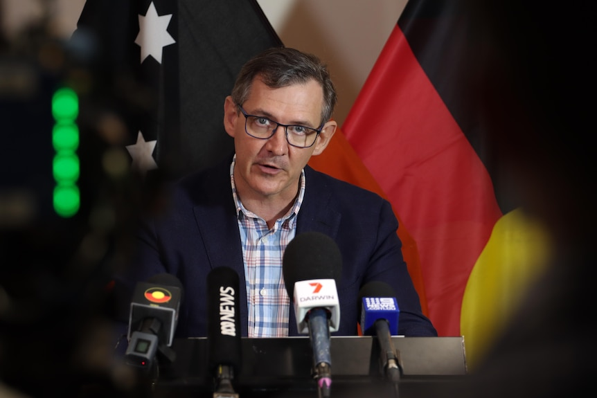 NT Chief Minister Michael Gunner at a press conference in Darwin.