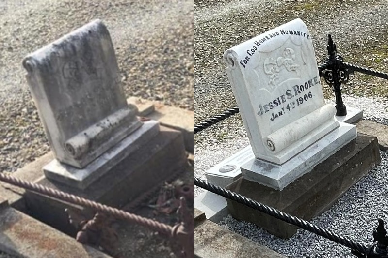 Before and after shot of restored gravestone reading Jessie S. Rooke.