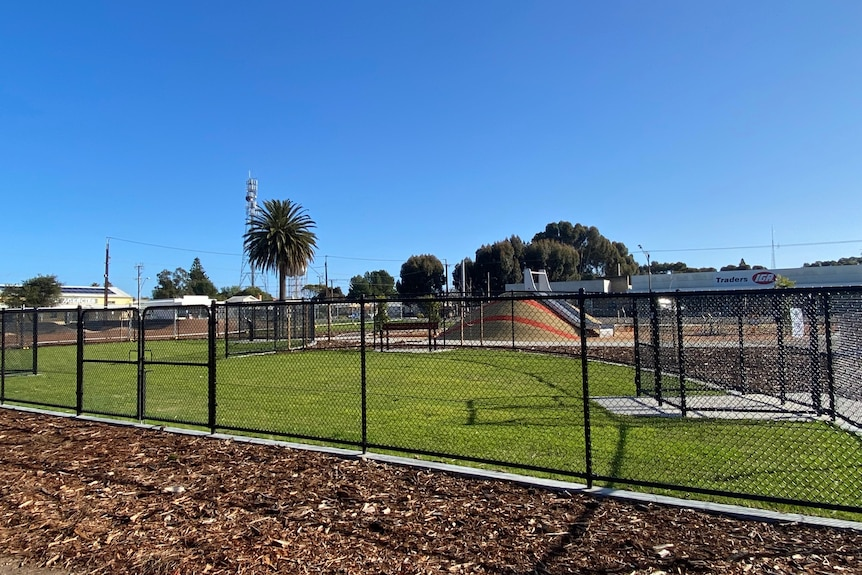 A fenced, grassed dog park with a playground in the background.