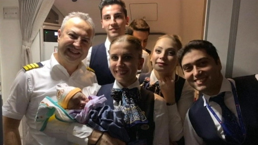 Newborn baby Bennel couldn't wait until the plane landed in Istanbul to come into the world.