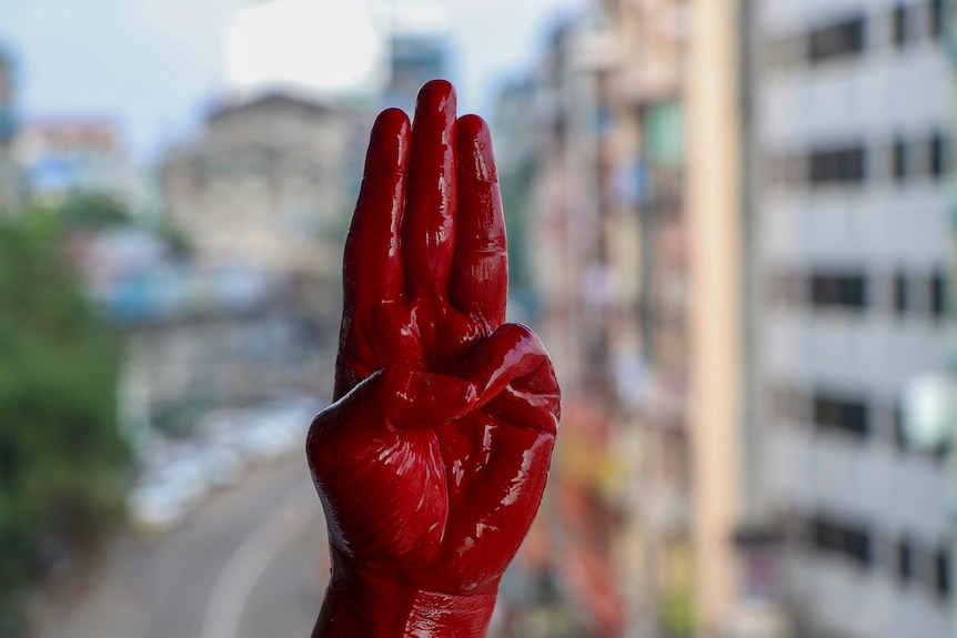 An anti-coup protester shows the three fingered salute of resistance on his red painted hand