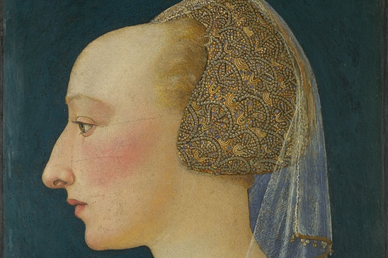 Side profile portrait of a woman with a high forehead from the 1400s.