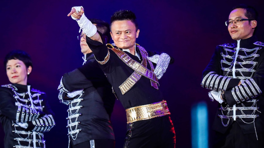 Jack Ma dresses as Michael Jackson as he performs on stage.