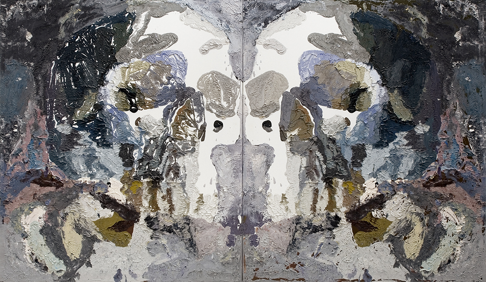 Bedford Downs Rorschach by artist Ben Quilty featuring expressive and thick black, grey, blue and brown oil paint brushstrokes.