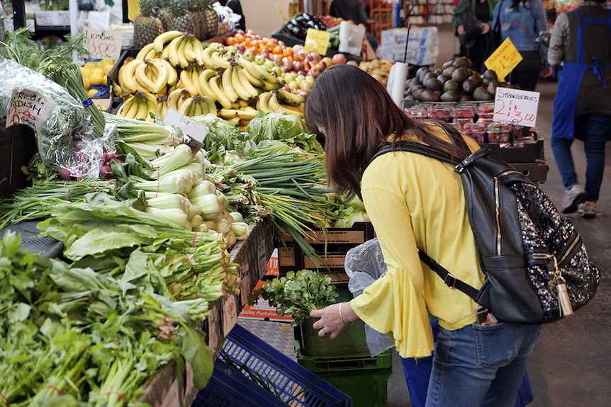 A shopper at an Adelaide fresh-food market