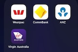 The Westpac, CommBank, ANZ and Virgin Australia app icons.