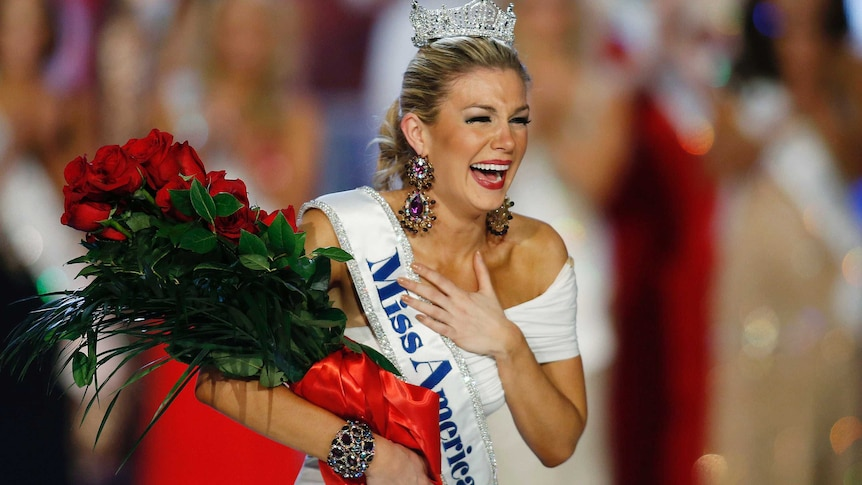 Miss New York Mallory Hytes Hagan reacts as she is crowned Miss America 2013 in Las Vegas, 2013.