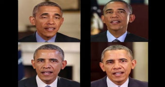 Four pictures of Barack Obama.