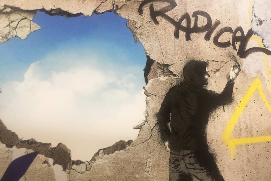 A postcard image of a man spray painting the word radical.