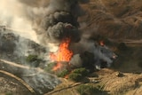 An aerial shot of flames from a bushfire.
