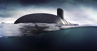Computer generated image of a submarine in water