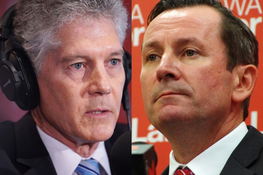 A picture of Stephen Smith wearing headphones in a studio alongside a picture of Mark McGowan in a media conference.