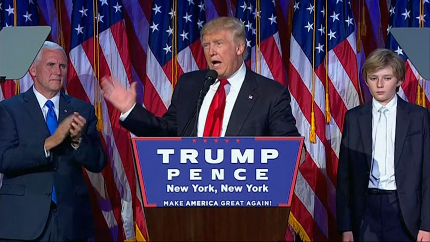 Donald Trump addresses his supporters after the us election.