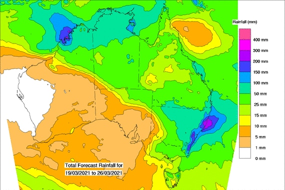 map showing rain in all parts of the country except the southwest.