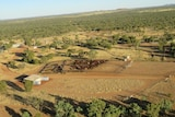 Aerial view of a pastoral property with cattle.