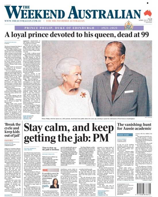 The front page of The Australian newspaper the day after the death of Prince Philip.