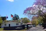 The entrance to Sunnybank State High School with a small white building on the left behind flags next to jacaranda trees