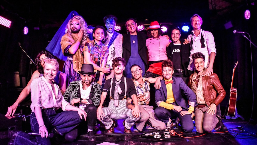 A group of performers on stage at Sydney event Queers of Joy.