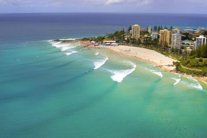 Aerial photo of the surf break at Snapper Rocks