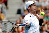 Britain's AndyMurrayhits a forehand return to Sam Querrey at the 2017 Australian Open.